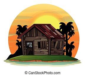 vecchio, casa legno, scena, fondo, isola