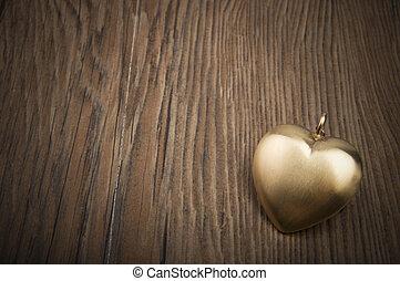 vecchio, chiave, e, oro, heart., chiave, di, mio, cuore, concept., giorno valentine, greetings.