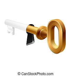 vecchio, chiave, uno, buco serratura
