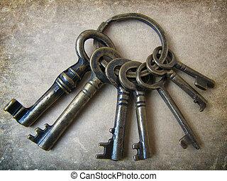 vecchio, chiavi, di, luck.