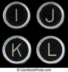 vecchio, chiavi, k, j, l, macchina scrivere