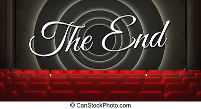 vecchio, cinema, schermo film, conclusione, retro