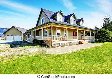 vecchio, classico, americano, casa, con, veranda