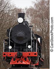 vecchio, classico, vapore, decorazione, nero, fronte, locomotiva, rosso, vista