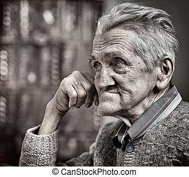 vecchio, closeup, uomo