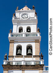 vecchio, coloniale, chiesa, in, sucre, bolivia.