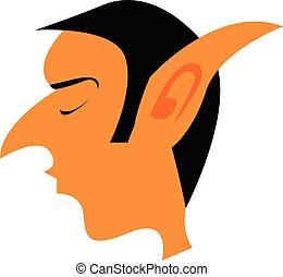 vecchio, colorare, grande, elfo, illustrazione, vettore, o, orecchie