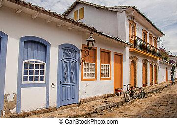 vecchio, colorito, ciottolo, vicolo, case, bicycles, paraty., vista