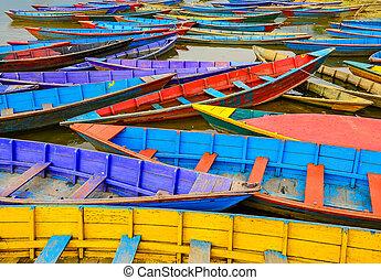 vecchio, colorito, vela, dettaglio, lago, barche