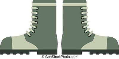 vecchio, combattimento, cuoio, illustrazione, soldato, vettore, stivali, militare, calzatura