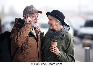 vecchio, coppia, insieme, allegro, tempo, godere