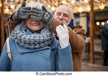 vecchio, coppia, insieme, amare, tempo, godere, felice