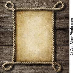 vecchio, cornice, corda, legno, carta, fondo, invecchiato