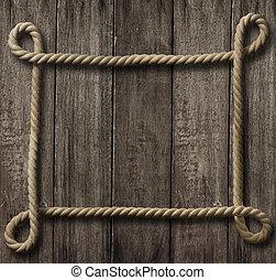 vecchio, cornice, corda, legno, fondo, invecchiato