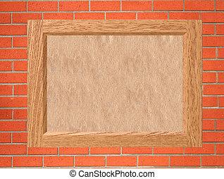 vecchio, cornice legno, parete, carta, vuoto, mattone, rosso
