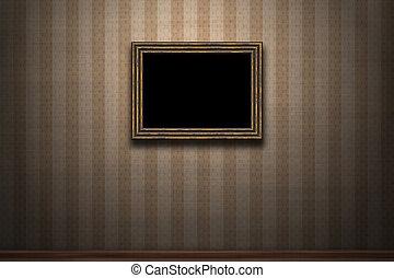 vecchio, cornice legno, parete, retro, grunge