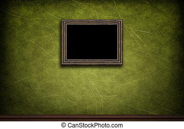 vecchio, cornice legno, parete, verde, retro, grunge