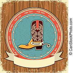 vecchio, cowboy, struttura, etichetta, legno, shoe.western, fondo