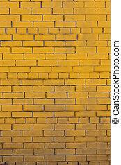 vecchio, dipinto, giallo, parete, fondo, mattone