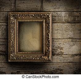 vecchio, dipinto, sbucciatura, cornice, contro, parete