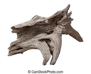 vecchio, driftwood, isolato, bianco