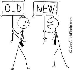 vecchio, due, uomini affari, segni, concettuale, nuovo, cartone animato