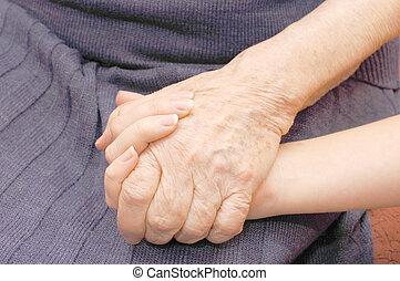 vecchio, e, giovane, mani