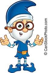 vecchio, elfo, in, blu, carattere