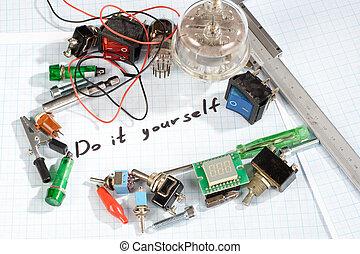 vecchio, -, esso, te stesso, parti, radio, retro, elettronico