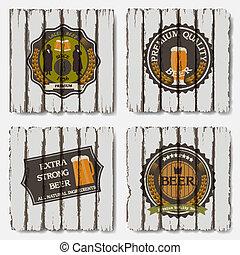 vecchio, etichette, birra, legno, fondo, tesserati magnetici