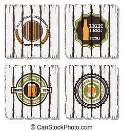 vecchio, etichette, quattro, birra, legno, fondo