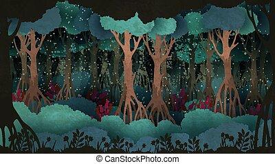 vecchio, fairytale, circondato, albero, fondo., foresta, fireflies, night.