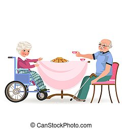 vecchio, famiglia, persone, sapore, tè, invalido, insieme, torta, nonna, cenando, casa, dad felice, mangiare, seduta, cibo, illustrazione, mamma, bere, mangiare, moglie, nonno, cena, vettore, tavola, marito