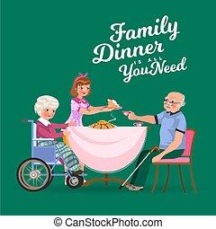 vecchio, famiglia, persone, tee, ragazza, volerci, tazza, cenando, trattare, uomo, casa, felice, mangiare, seduta, cibo, illustrazione, nonna, presa, mangiare, cura, insieme, nonno, cena, vettore, anziano, tavola
