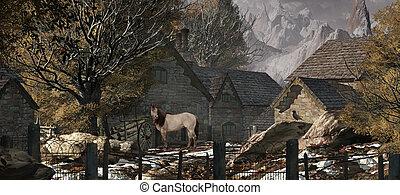 vecchio, fattoria, in, il, alpi svizzere