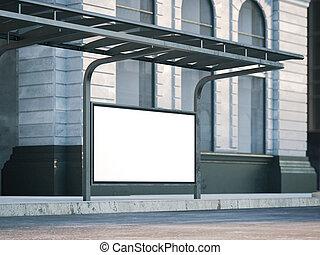vecchio, fermata dell'autobus, interpretazione, billboard., 3d