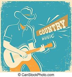 vecchio, festival, paese, musicista, chitarra, carta,...