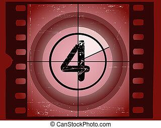 vecchio, film, -, 4, graffiato, rosso, conto alla rovescia