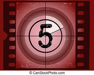 vecchio, film, -, 5, graffiato, rosso, conto alla rovescia