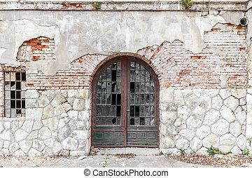 vecchio, finestra, porta, rotto
