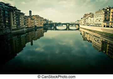 vecchio, florença, vista, itália, ponte