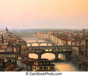 vecchio, florence, sur, coucher soleil, ponte