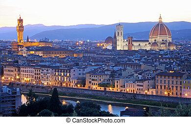 vecchio, florencia, italia, toscana, (firenze), contorno, ...