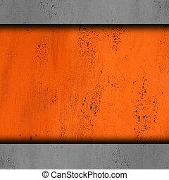 vecchio, fondo, astratto, metallo, struttura, vernice, arrugginito, ferro, arancia, grunge, ruggine