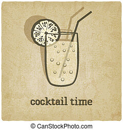 vecchio, fondo, cocktail
