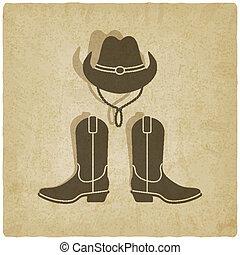 vecchio, fondo, cowboy
