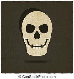 vecchio, fondo, cranio
