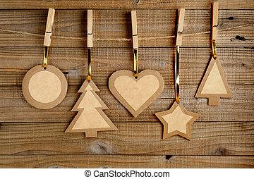 vecchio, fondo, legno, carta, decorazioni, natale