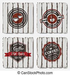 vecchio, fondo, legno, etichette, caffè