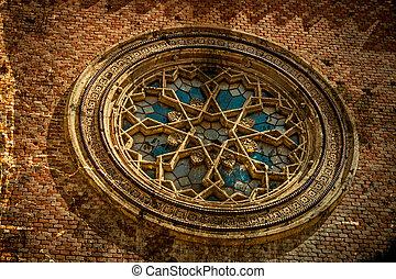 vecchio, foto, con, facciata, dettaglio, di, uno, synagogue., timisoara, romania